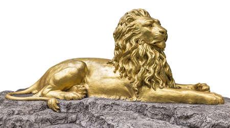 lions rock: Gold Sculpture statue of a lion