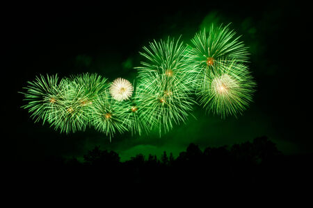 beautiful fireworks in night sky background photo