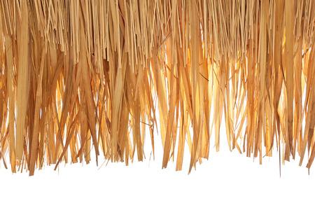 close-up van rieten dak geïsoleerd op wit Stockfoto