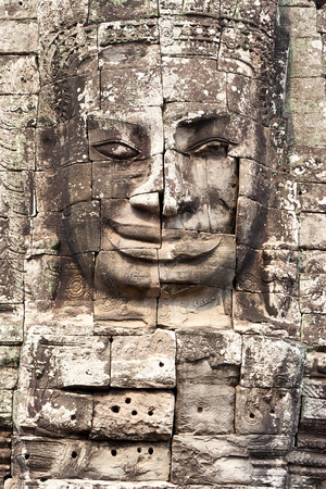 Bodhisattva face in Bayon temple at Angkor Thom photo