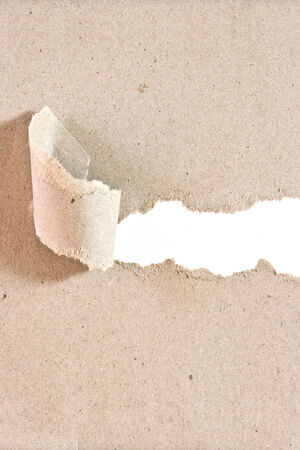 white textured paper: Recycled paper was torn a strip with white background