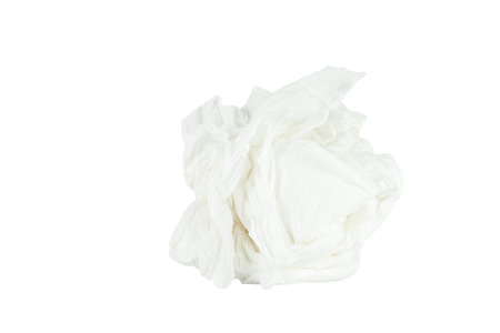 Crumpled tissue paper isolated white background  Save with path  Stockfoto