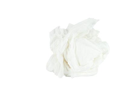 Verfrommeld papieren zakdoekje geïsoleerd witte achtergrond Opslaan met pad Stockfoto - 30001861