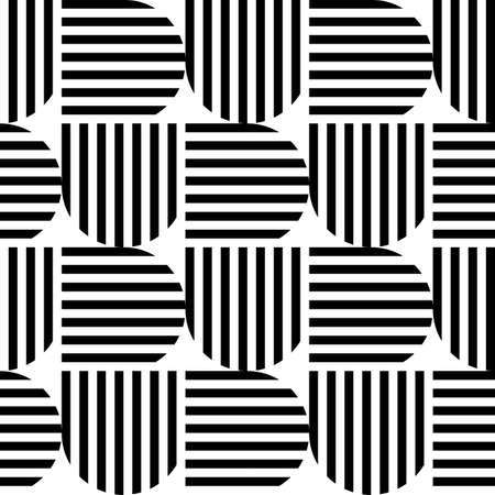 Black and white geometric stripe seamless pattern abstract background Vector