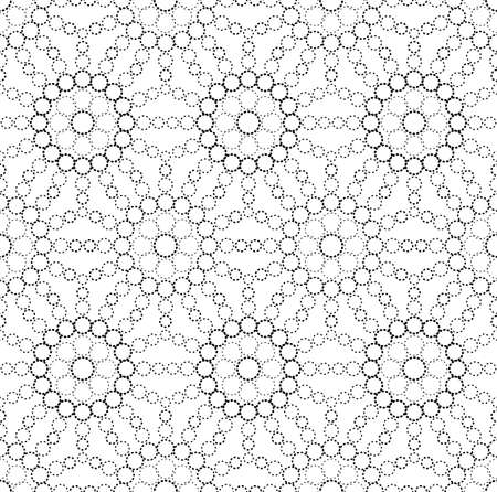slick: Black and white geometric circle seamless pattern Illustration