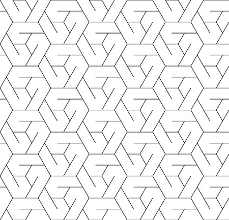 Black and white geometric seamless pattern with line and hexagon Illustration