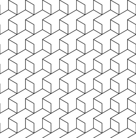 Black and white geometric seamless pattern with line and rhombus Illustration