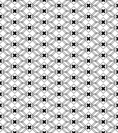 Black and white geometric seamless pattern with line and round corner rectangle