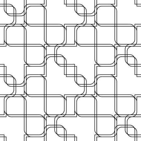 Black and white geometric seamless pattern with line and round corner rectangle Vector