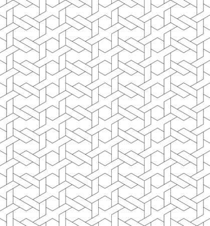 Black and white geometric seamless pattern with line and weave style