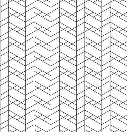 Black and white geometric seamless pattern with line, rhombus, trapezoid and triangle