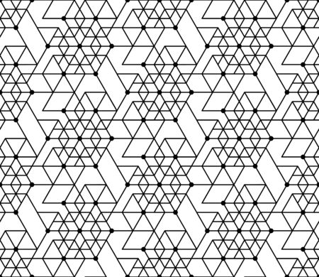 Black and white geometric seamless pattern with line, hexagon, triangle and circle