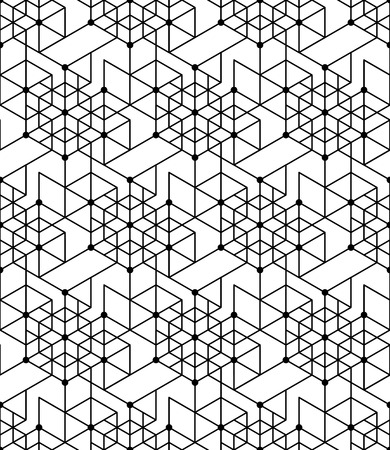 Black and white geometric seamless pattern with line, hexagon, triangle and circle, eps10, vector. Vector