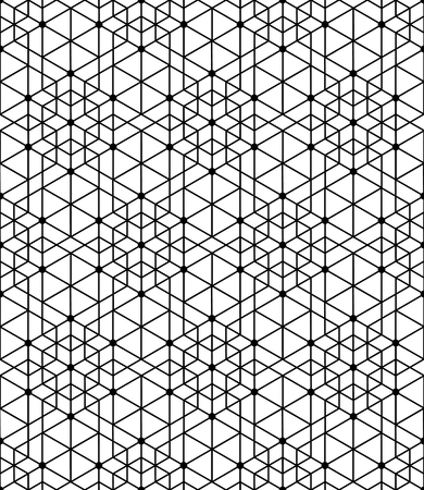 Black and white geometric seamless pattern with line, hexagon, triangle and circle, eps10, vector. Illustration