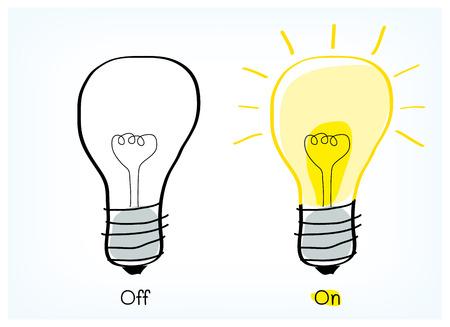 On and off light bulb idea vector