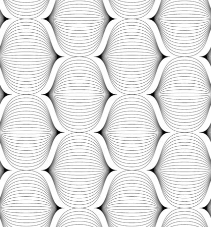 Black and white geometric seamless pattern with line, abstract background Vector