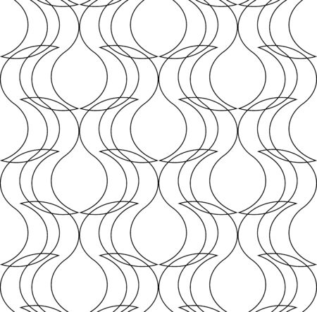 Black and white geometric seamless pattern with line, abstract background Illustration