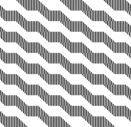 Black and white geometric stripe seamless pattern abstract background, vector. Illustration