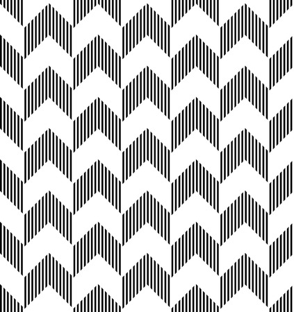 Black and white geometric seamless pattern with stripe and arrow abstract background, vector. Vector