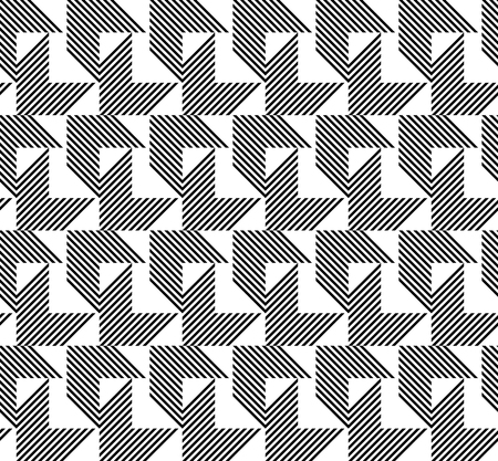 Black and white geometric seamless pattern with stripe and arrow abstract background, vector. Illustration