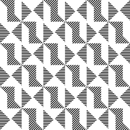 Black and white geometric seamless pattern with stripe and triangle abstract background, vector. Vector