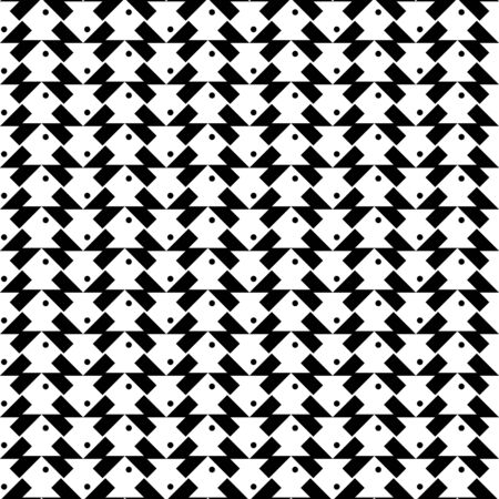 trapezoid: Black and white geometric seamless pattern with fish shape, abstract background, vector, illustration. Illustration