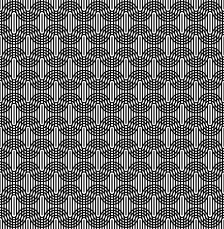 oval shape: Black and white seamless pattern with line and oval shape. Abstract background. Illustration