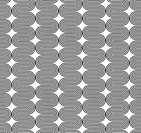 curved line: Black and white seamless pattern with curved line. Abstract background. Illustration
