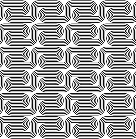 geschwungene linie: Schwarz und wei� nahtlose Muster mit gebogenen Linie. Abstract background.