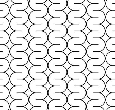 geschwungene linie: Schwarz und wei� nahtlose Muster mit gebogenen Linie. Zusammenfassung Hintergrund. Illustration