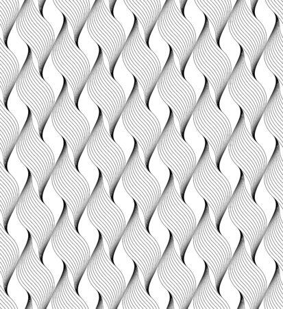 黒と白ライン, 抽象的な背景, ベクトル, イラストで幾何学的なシームレス パターン。