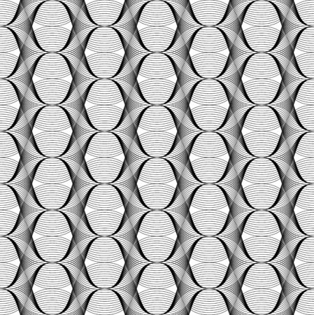 Black and white geometric seamless pattern with line, abstract background, vector, illustration. Ilustração