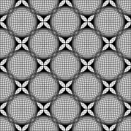 petal: Black and white geometric seamless pattern with line and flower petal, abstract background
