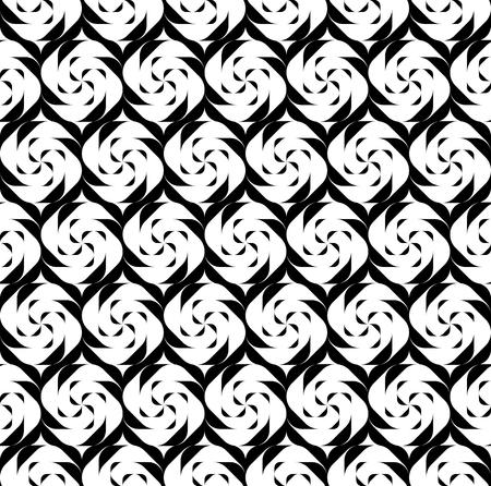 黒と白の幾何学的なシームレス パターン、抽象的な背景