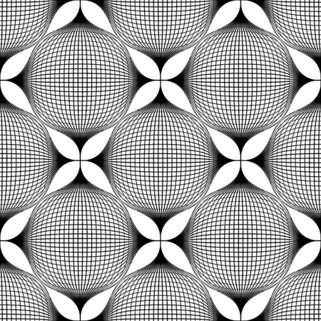 petal: Black and white geometric seamless pattern with line and flower petal, abstract background, vector, illustration.
