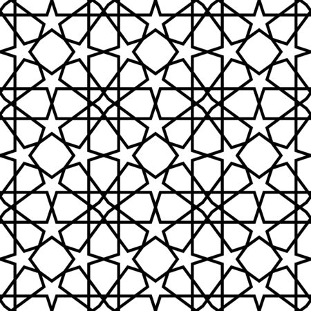 Black and white geometric seamless pattern, abstract background, vector, EPS10. Vector