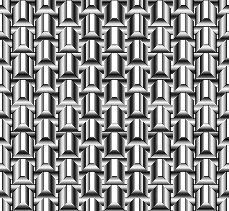 interlace: Black and white geometric seamless pattern with line, abstract background, vector, EPS10. Illustration