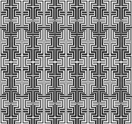 interlace: In bianco e nero disegno geometrico senza soluzione di continuit� con la linea, sfondo astratto, vettore, EPS10.