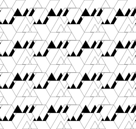 patchwork pattern: Black and white geometric seamless pattern with triangle and trapezoid, abstract background, vector, EPS10