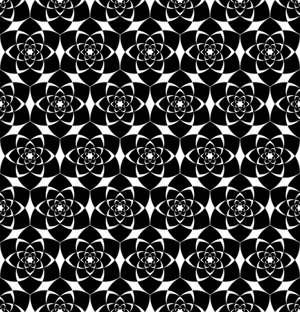 repetition: Black and white seamless pattern with flower style, abstract background, vector, illustration.