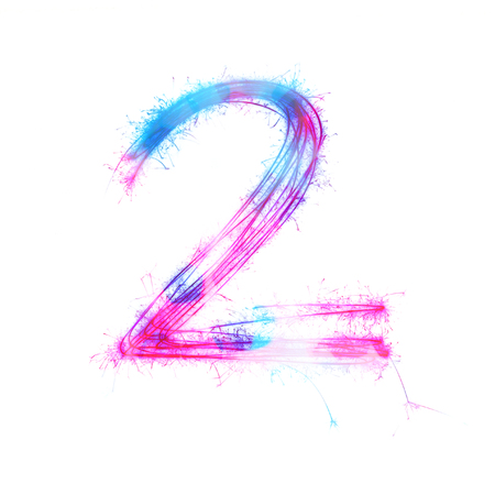 Twinkle licht alfabet nummer 2 op een witte achtergrond.