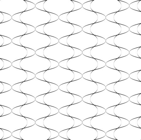 Black and white seamless pattern wave line style, abstract background, vector, illustration.