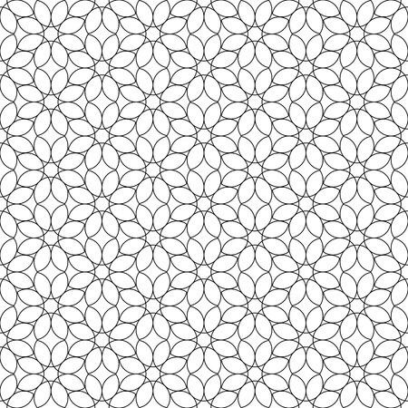 Black and white geometric seamless pattern flower stylish with line, abstract background, vector, illustration. 向量圖像