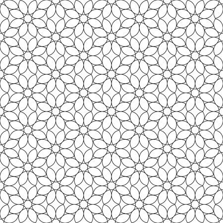 Zwarte en witte geometrische naadloze patroon bloem stijlvolle met lijn, abstracte achtergrond, vector, illustratie.