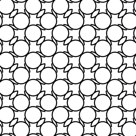Black and white geometric seamless pattern with wavy line and circle, abstract background, vector, illustration.