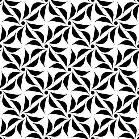 Black and white seamless pattern with flower style, abstract background, vector, illustration.