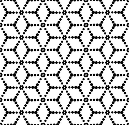 trapezoid: Black and white geometric seamless pattern with circle, abstract background, vector, illustration. Illustration