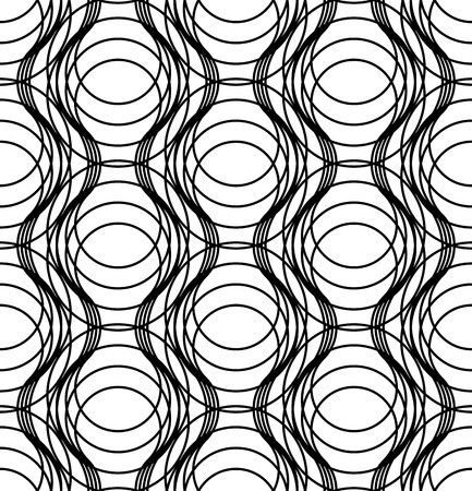Black and white geometric seamless pattern with wavy line, abstract background, vector, illustration. Illustration