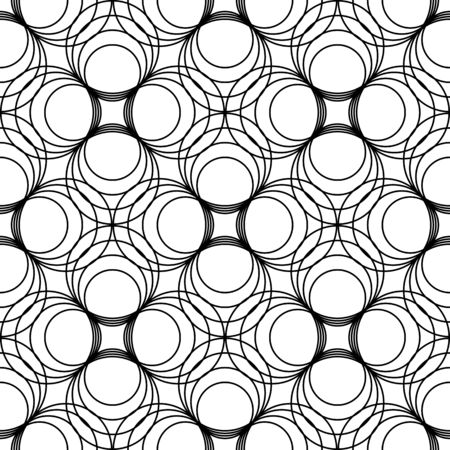 Black and white geometric seamless pattern with line and circle, abstract background, vector, illustration.