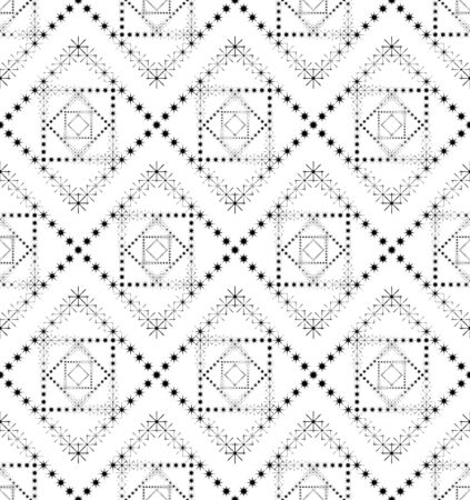 Black and white geometric seamless pattern with point of the star, abstract background, vector, illustration. Illustration